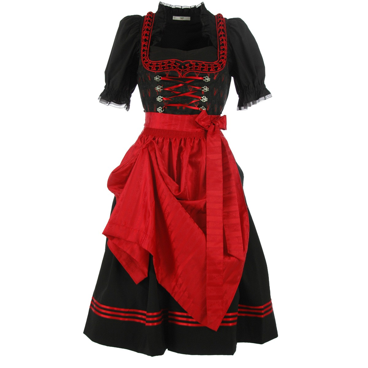 midi dirndl theresia in schwarz und rot von turi. Black Bedroom Furniture Sets. Home Design Ideas