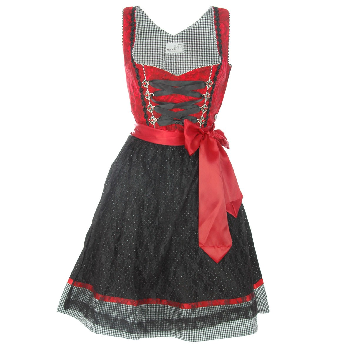 midi dirndl irene in schwarz rot von marjo trachten ebay. Black Bedroom Furniture Sets. Home Design Ideas