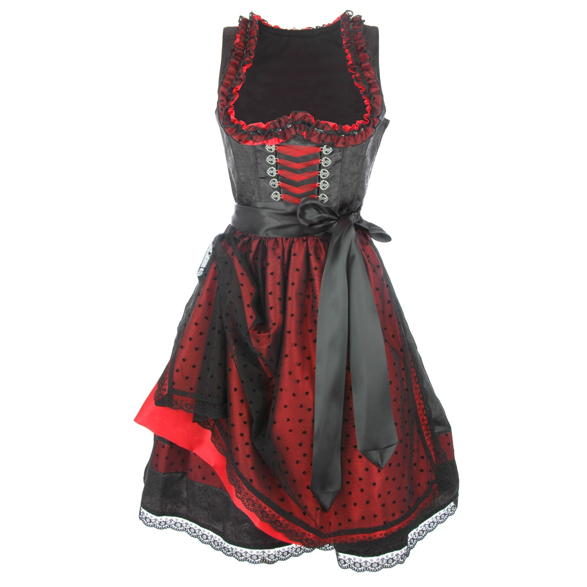 midi dirndl lola in schwarz rot von country line ebay. Black Bedroom Furniture Sets. Home Design Ideas