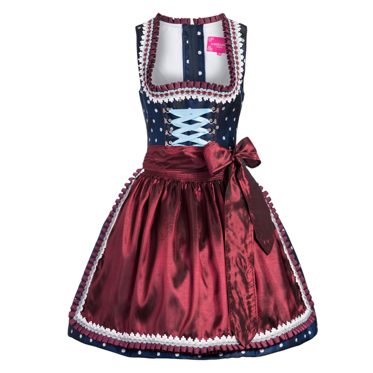 mini dirndl fei in blau von kr ger dirndl ebay. Black Bedroom Furniture Sets. Home Design Ideas