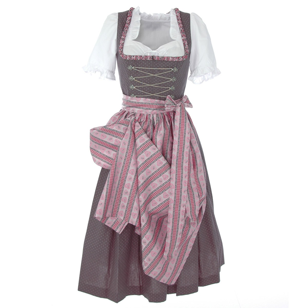 langes dirndl regina in grau von berwin und wolff ebay. Black Bedroom Furniture Sets. Home Design Ideas