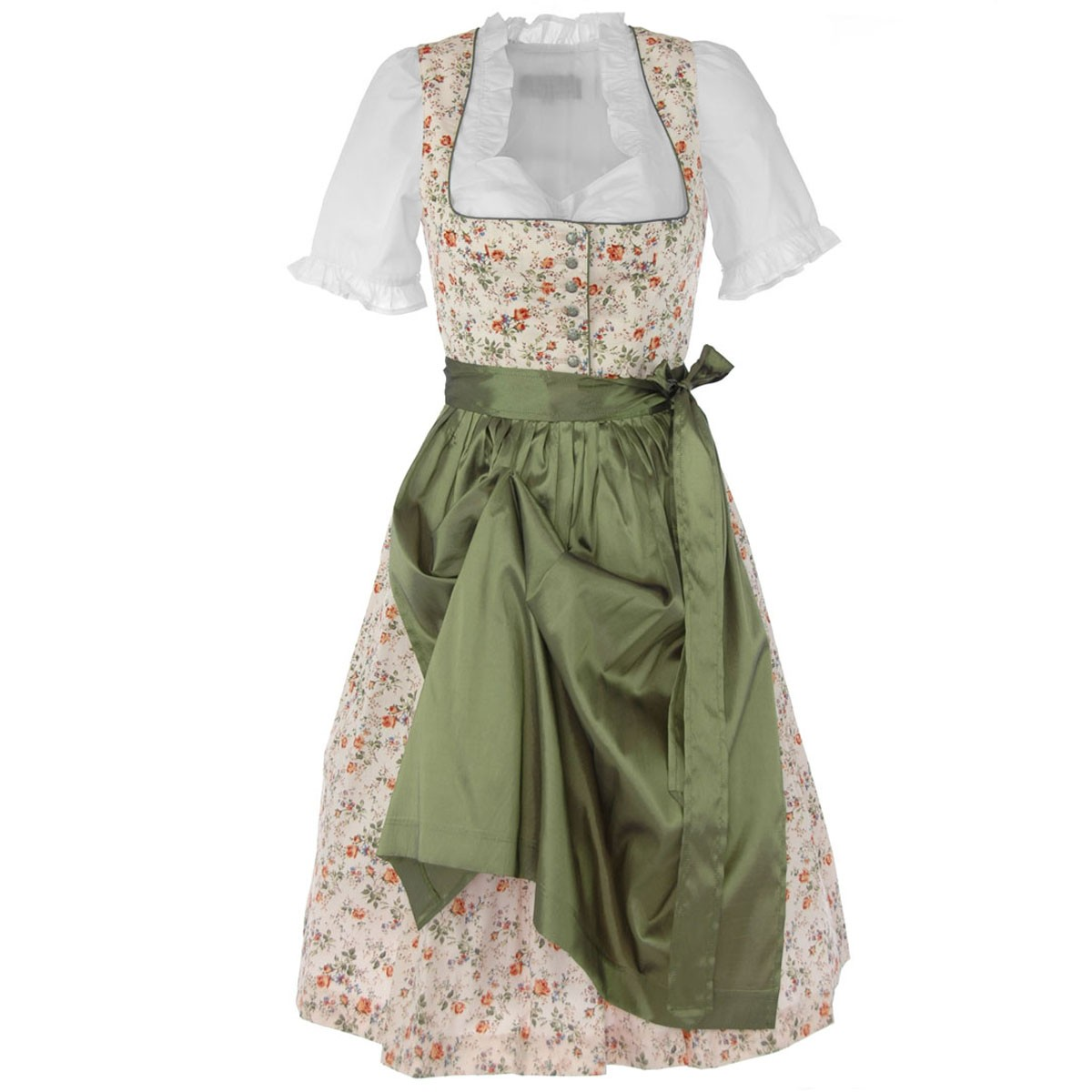 midi dirndl martina in creme gr n von berwin und wolff ebay. Black Bedroom Furniture Sets. Home Design Ideas