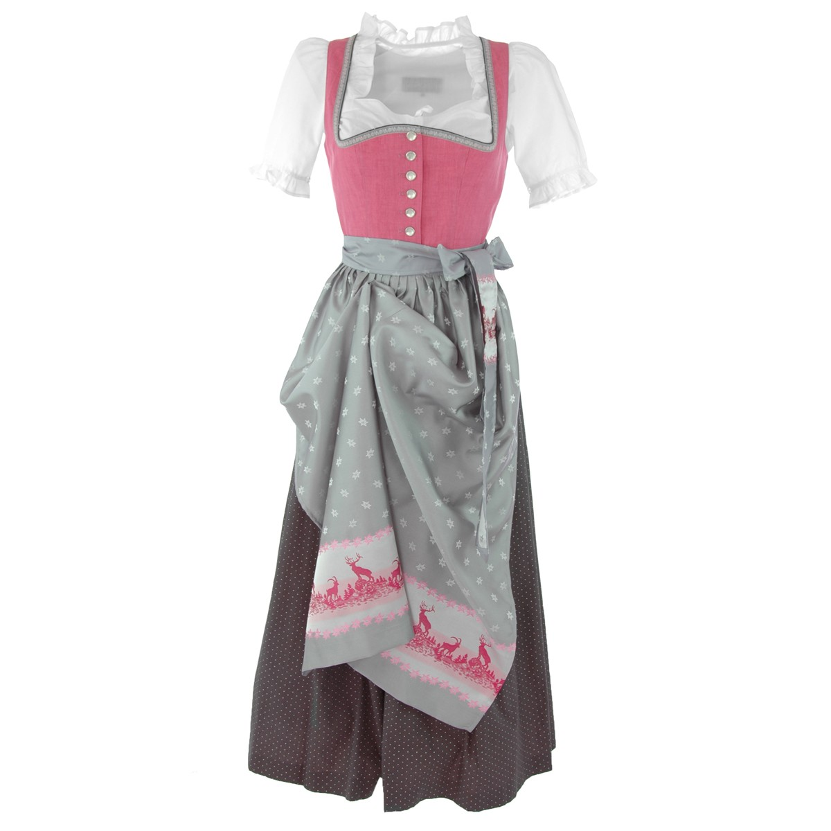 langes dirndl anna in pink silber von berwin und wolff ebay. Black Bedroom Furniture Sets. Home Design Ideas