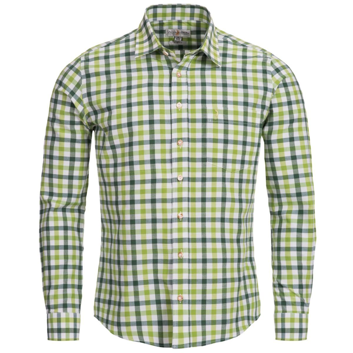 Apfelgrünes und Tannengrünes Trachtenhemd kariert von Almsach