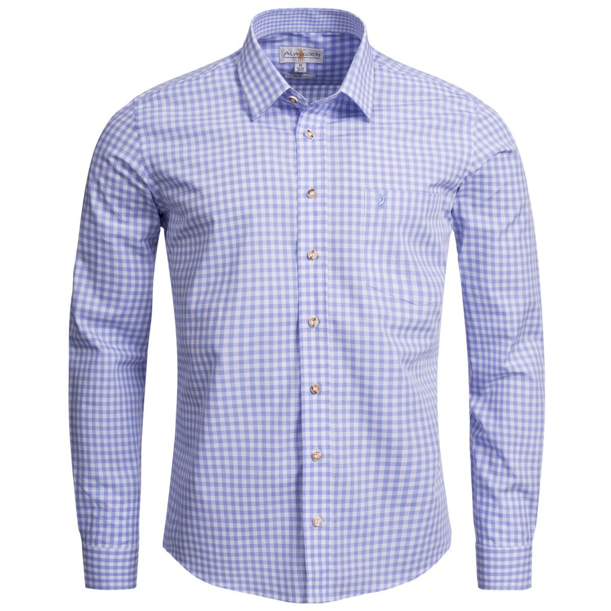 Hellblaues Trachtenhemd kariert von Almsach