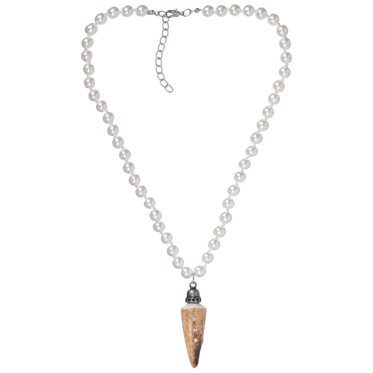 weiße Perlenkette mit Hirschhornanhänger von Schllick