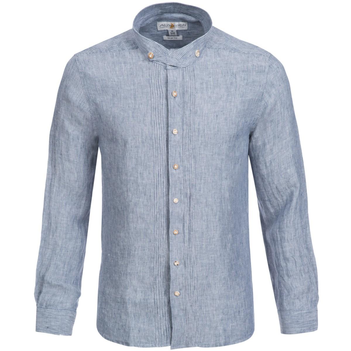 trachtenhemd slim fit in dunkelblau von almsach leinenhemd ebay. Black Bedroom Furniture Sets. Home Design Ideas