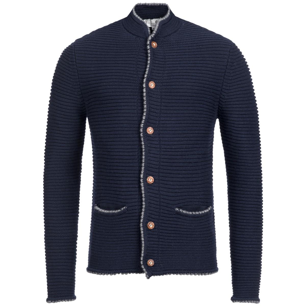 dunkelblaue Strickjacke von Gweih und Silk