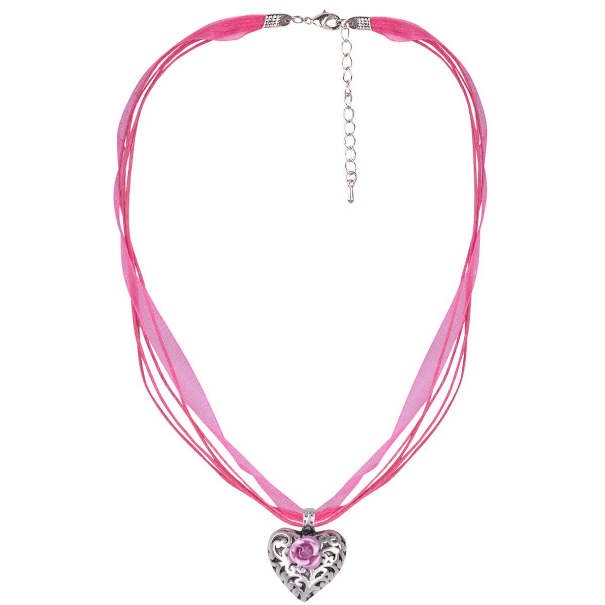 Pinke Trachtenkette mit Herz