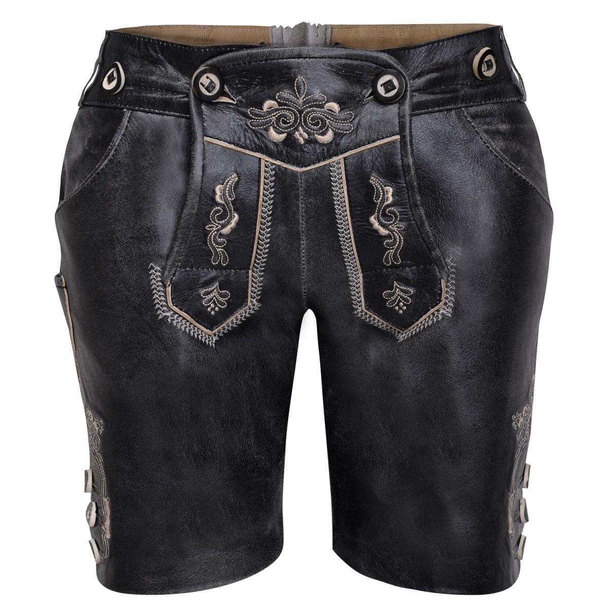 Kurze lederhose in schwarz von marjo trachten ebay for Trachten finest
