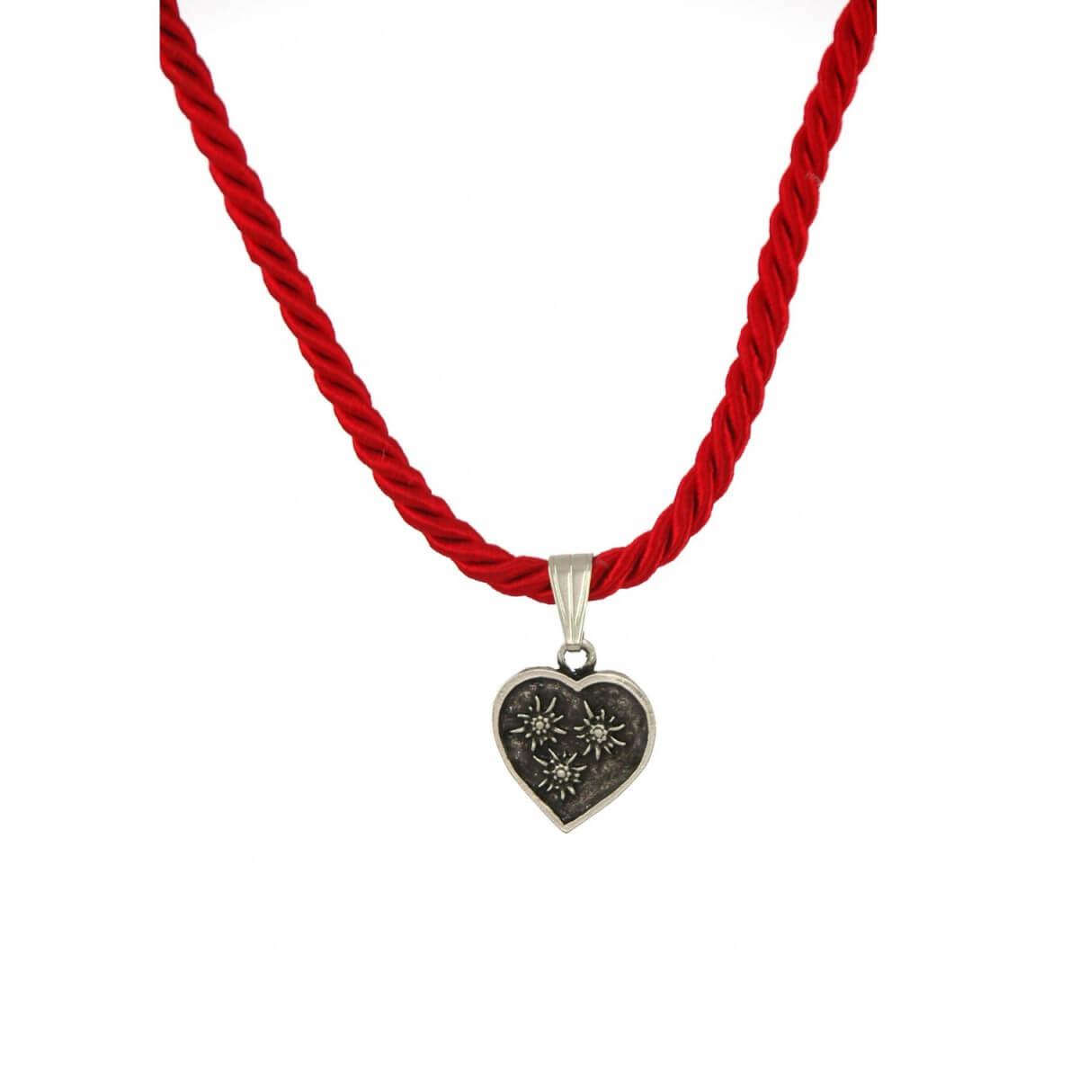 Trachtenkette in Rot mit Herzanhänger